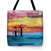 Watercolor A And Serenity Prayer Tote Bag