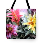 Watercolor And Ink Sketch Of Colorful Bromeliads Tote Bag
