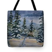 Original Watercolor - Colorado Winter Pines Tote Bag
