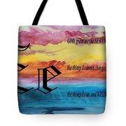 Watercolor E And Serenity Prayer Tote Bag