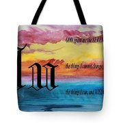 Watercolor U And Serenity Prayer Tote Bag