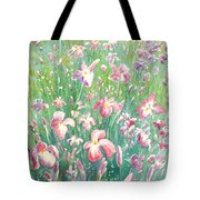 Watercolour Of Pink Iris's In A Green Field Tote Bag
