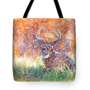 Watercolour Painting Of A Stag In The Snow Tote Bag