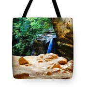 Waterfall At Cliff Side Tote Bag