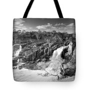 Waterfall Black And White Tote Bag