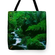 Waterfall In A Forest, Dartmoor, Devon Tote Bag