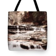 Waterfall In Sepia Tote Bag
