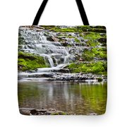 Waterfall In The Forest In Autumn Season  Tote Bag