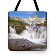 Los Glaciares Waterfall Tote Bag by Yva Momatiuk John Eastcott