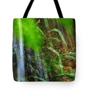Waterfall Over Ferns Tote Bag