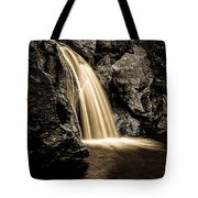 Waterfall Stowe Vermont Sepia Tone Tote Bag