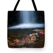 Waterfall And Leaves In Autumn Tote Bag