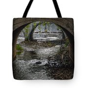 Waterfall Under Railroad Tracks Tote Bag