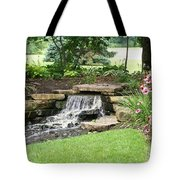 Waterfall With Coneflowers Tote Bag