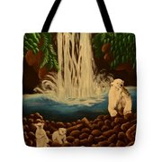 Waterfall With Polar Bears Tote Bag