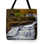 Waterfalls In The Fall Tote Bag by Susan Candelario