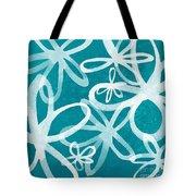 Waterflowers- Teal And White Tote Bag by Linda Woods