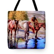 Watering The Horses Tote Bag