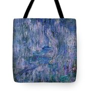 Waterlilies And Reflections Of A Willow Tree Tote Bag