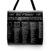 Waterloo Roll Of Honor 1914 1918 Tote Bag