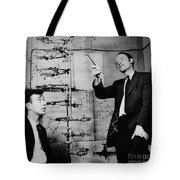 Watson And Crick With Dna Model Tote Bag