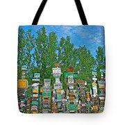 Watson Lake Sign Forest-yt Tote Bag by Ruth Hager