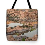Watson Lake Sunset Tote Bag by Angie Schutt