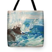 Wave At Sunset Beach Tote Bag