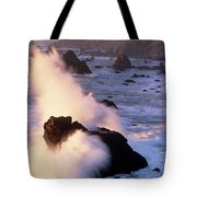 Wave Crashing On Sea Mount California Coast Tote Bag
