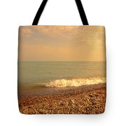 Wave On Rocky Beach Tote Bag