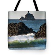 Waves Breaking At Ecola State Park Tote Bag