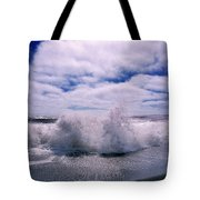 Waves Breaking At The Coast, Iceland Tote Bag