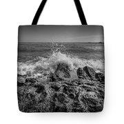 Waves Crashing Bw Tote Bag