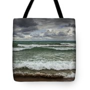 Waves Crashing On The Shore In Sturgeon Bay At Wilderness State Park Tote Bag