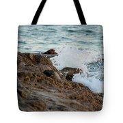 Waves Hitting The Rocks Tote Bag