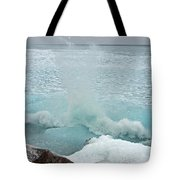 Waves Of Pancake Ice Crashing Ashore Tote Bag