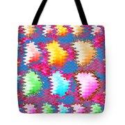 Waves Pattern Crystals Jewels Rose Flower Petals Tote Bag