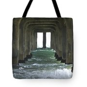 Waves Under The Pier Landscape Tote Bag