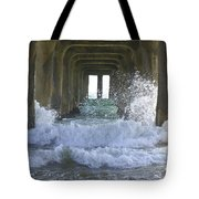 Waves Under The Pier Portrait Tote Bag