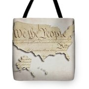 We The People - Us Constitution Map Tote Bag
