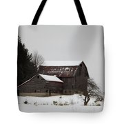 Weathered Barns In Winter Tote Bag