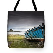Weathered Boat On The Shore Tote Bag
