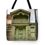 Weathered Old Green Wooden House Tote Bag