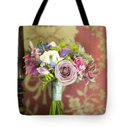 Wedding Bouquet And Vintage Wallpaper Tote Bag