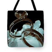 Wedding Ring Cake Topper Cyan Tote Bag