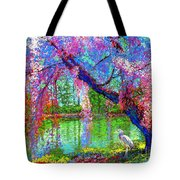 Weeping Beauty, Cherry Blossom Tree And Heron Tote Bag