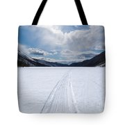 Well Used Winter Trail On Frozen Mountain Lake Tote Bag