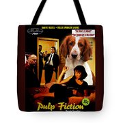 Welsh Springer Spaniel Art Canvas Print - Pulp Fiction Movie Poster Tote Bag