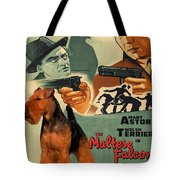 Welsh Terrier Art Canvas Print - The Maltese Falcon Movie Poster Tote Bag