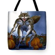 Werewolf With Pumpkins Tote Bag